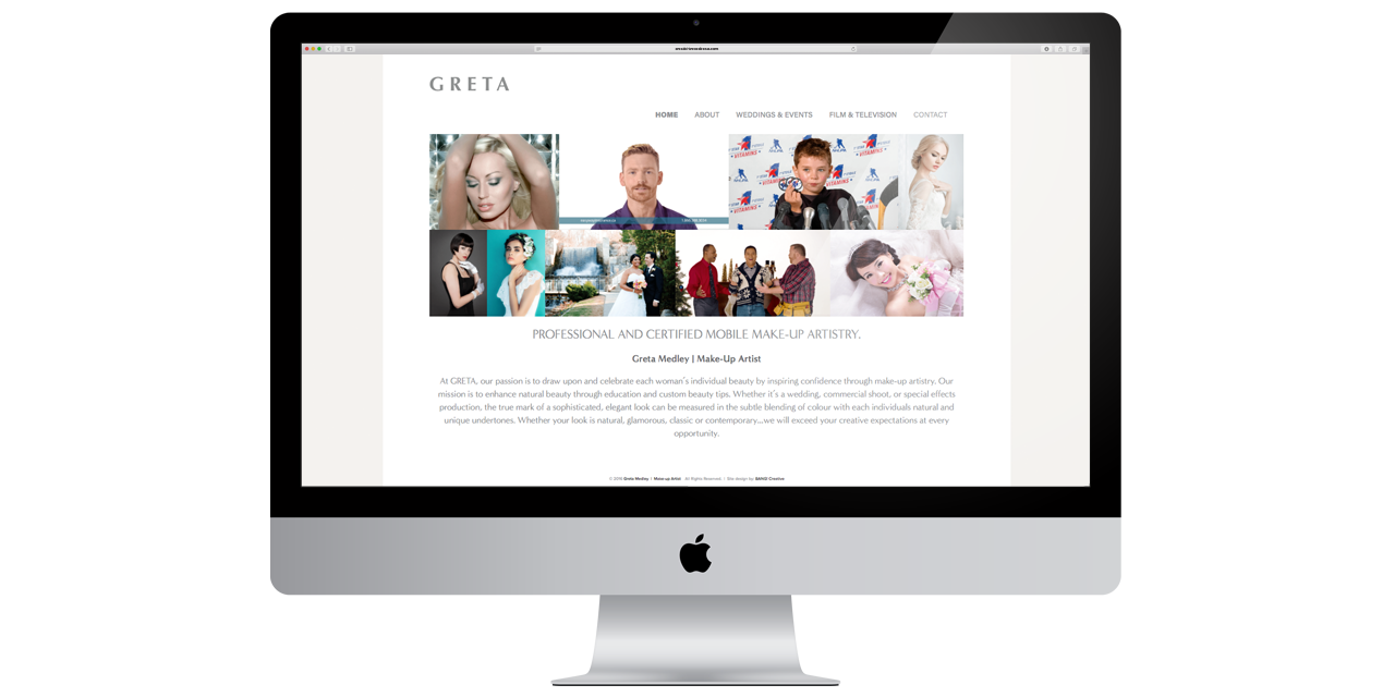 Website Design GRETA by BANG! creative strategy by design