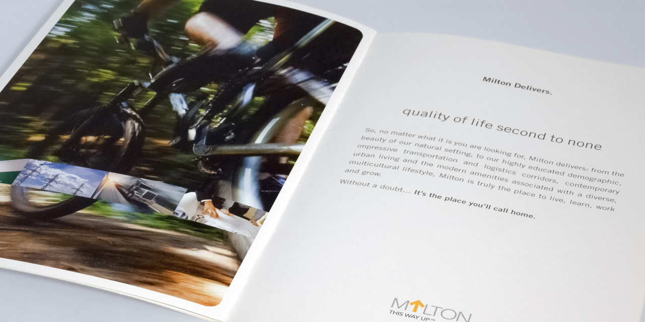 Marketing Booklet Town of Milton Economic Development Campaign by BANG! creative strategy by design