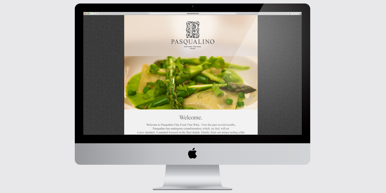 Website development for Pasqualino by BANG! creative strategy by design