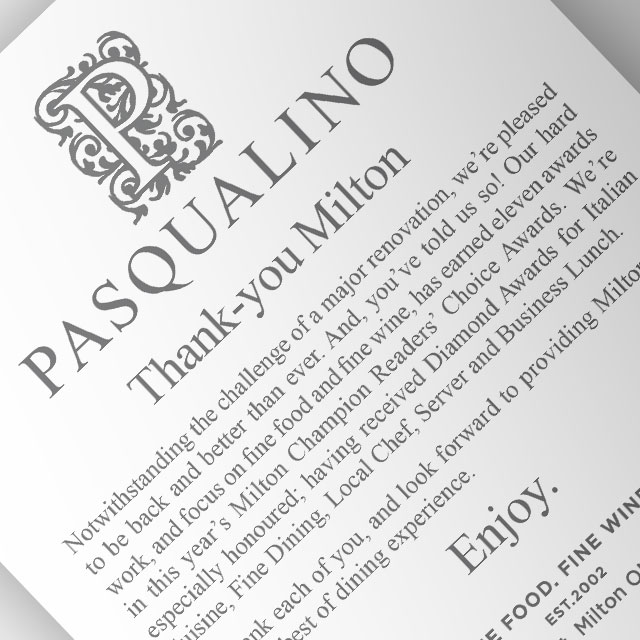 Advertisement for Pasqualino by BANG! creative strategy by design