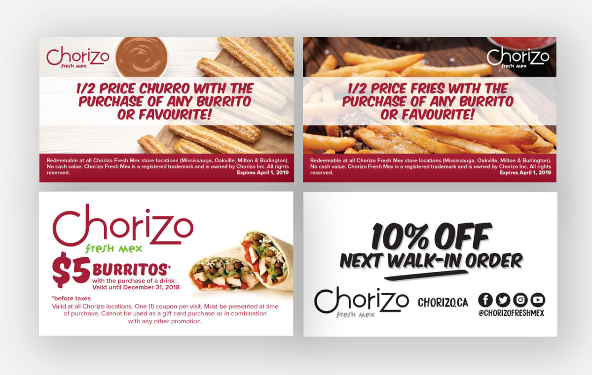 Coupons and promotional handouts cards advertising for Chorizo Fresh Mex Boritos Tacos Fresh Mexiacan Food by BANG! creative strategy by design