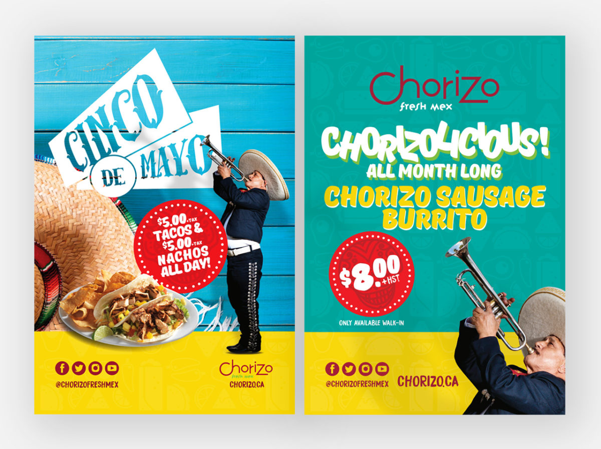 Posters Display Boards Promotional Chorizo Fresh Mex Boritos Tacos Fresh Mexiacan Food by BANG! creative strategy by design