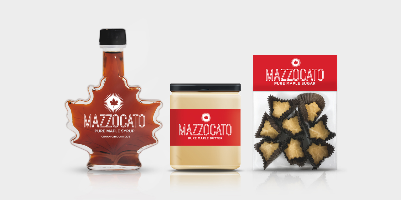 Branding and Packaging Graphic Design of Mazzocato Maple Syrup by BANG! creative strategy by design