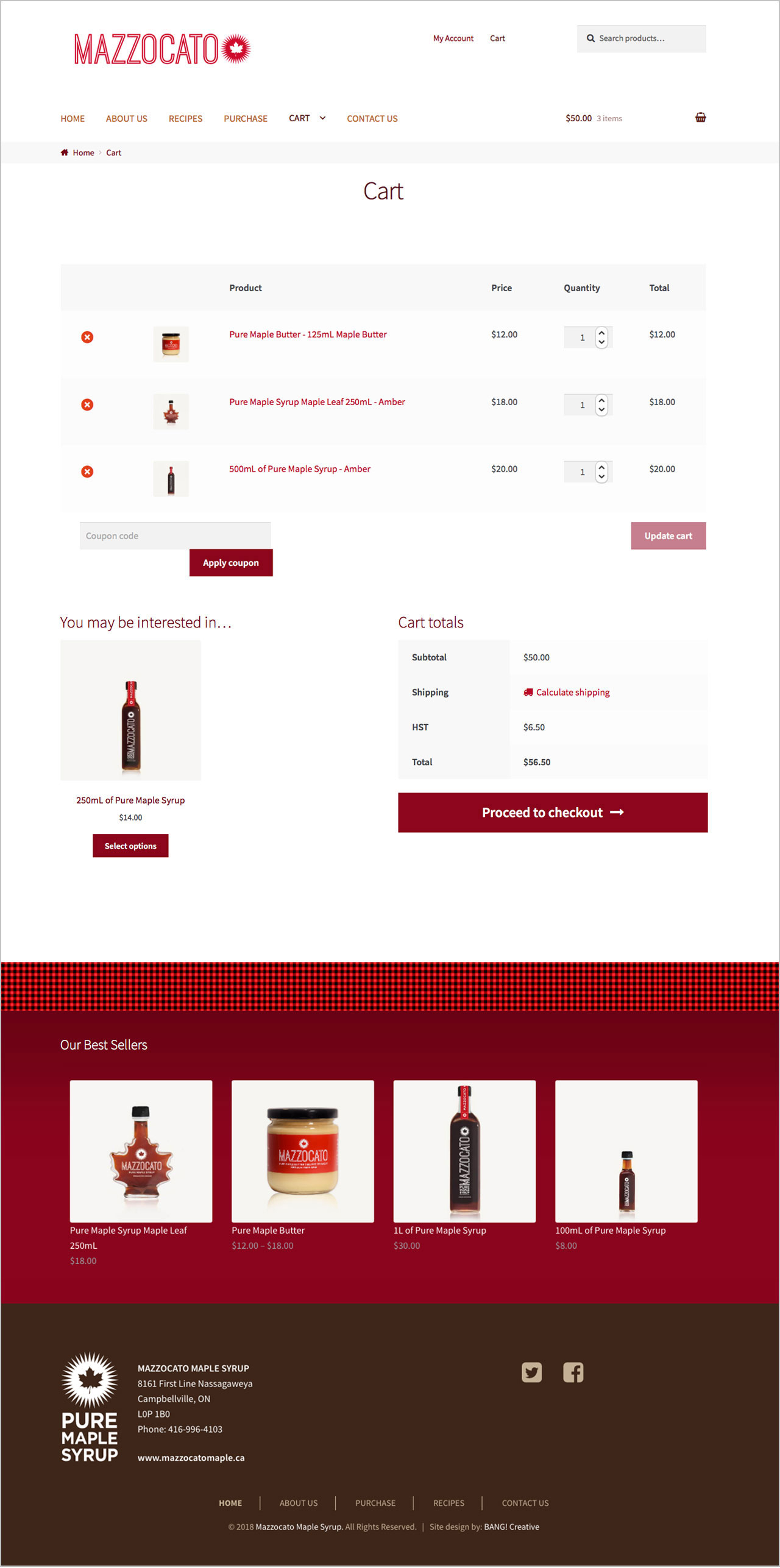 Website Design of Mazzocato Maple Syrup by BANG! creative strategy by design