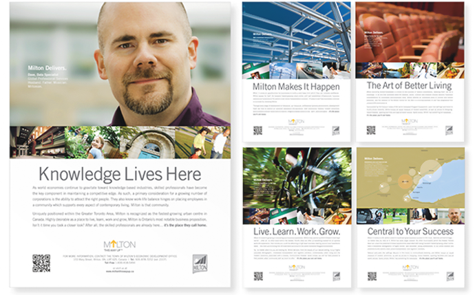 Marketing Materials Town of Milton Economic Development Campaign by BANG! creative strategy by designa