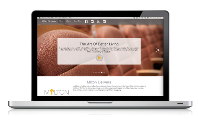 Website Design Town of Milton Economic Development Campaign by BANG! creative strategy by designa